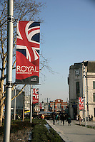 Woolwich town square: General Gordon Square is the foreground, Woolwich Equitable building to the right and the Royal Arsenal gate in the middle distance. Union Jack banner is to commemorate that Greenwich has become a royal borough in 2012