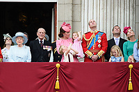 Queen, Prince Phillip, Catherine Duchess of Cambridge, Princess Charlotte, Prince George, Prince William<br /> on the balcony of Buckingham Palace during Trooping the Colour on The Mall, London. <br /> <br /> <br /> ©Ash Knotek  D3283  17/06/2017