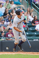 Aaron Judge (35) of the Charleston RiverDogs starts down the first base line against the Hickory Crawdads at L.P. Frans Stadium on May 25, 2014 in Hickory, North Carolina.  The RiverDogs defeated the Crawdads 17-10.  (Brian Westerholt/Four Seam Images)