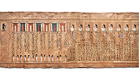 Ancient Egyptian Book of the Dead papyrus - From  tomb of Kha, Theban Tomb 8 , mid-18th dynasty (1550 to 1292 BC), Turin Egyptian Museum.  white background