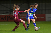 Fran Meersman (5) of AA Gent and Fleur Pauwels (63) of KRC Genk pictured during a female soccer game between  AA Gent Ladies and Racing Genk on the 12 th matchday of the 2020 - 2021 season of Belgian Scooore Womens Super League , friday 29 th of January 2021  in Oostakker , Belgium . PHOTO SPORTPIX.BE | SPP | DIRK VUYLSTEKE