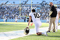 CHAPEL HILL, NC - NOVEMBER 14: Sam Hartman #10 of Wake Forest watches from the sideline during a game between Wake Forest and North Carolina at Kenan Memorial Stadium on November 14, 2020 in Chapel Hill, North Carolina.