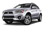 Stock pictures of low aggressive front three quarter view of 2015 Mitsubishi ASX Diamond Edition 5 Door SUV Low Aggressive