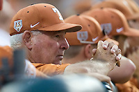 Texas Longhorns coach Augie Garrido watches his team against the Texas A&M Aggies in NCAA Big XII Conference baseball on May 21, 2011 at Disch Falk Field in Austin, Texas. (Photo by Andrew Woolley / Four Seam Images)