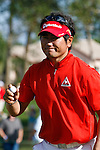 PALM BEACH GARDENS, FL. - Y.E. Yang waves to the gallery after sinking his putt during Round Three play at the 2009 Honda Classic - PGA National Resort and Spa in Palm Beach Gardens, FL. on March 7, 2009.