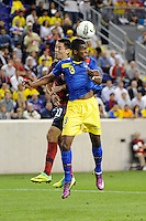 Frickson Erazo (3) of Ecuador and Clint Dempsey (10) of the United States go up for a header. The men's national team of the United States (USA) was defeated by Ecuador (ECU) 1-0 during an international friendly at Red Bull Arena in Harrison, NJ, on October 11, 2011.