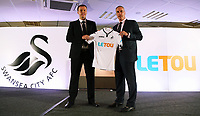 Pictured L-R: Paul Fox, CEO of Letou with Chris Pearlman, COO of Swansea City FC. Monday 19 June 2017<br />