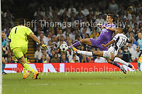 Christiano Ronaldo of Real Madrid near to scoring   during the UEFA Champions league final  between Juventus and Real Madrid at the National Stadium of Wales on Saturday 3rd June 2017<br /> <br /> <br /> Jeff Thomas Photography -  www.jaypics.photoshelter.com - <br /> e-mail swansea1001@hotmail.co.uk -<br /> Mob: 07837 386244 -
