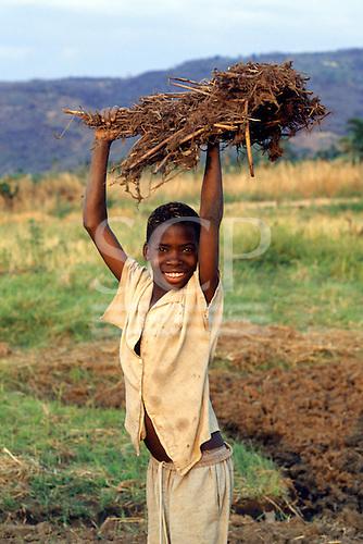 Kasanga, Lake Tanganyika. Smiling boy holding kindling above his head with a field behind.