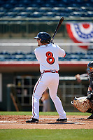 Florida Fire Frogs Riley Delgado (8) at bat during a Florida State League game against the Jupiter Hammerheads on April 11, 2019 at Osceola County Stadium in Kissimmee, Florida.  Jupiter defeated Florida 2-0.  (Mike Janes/Four Seam Images)