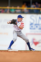 Lexington Legends second baseman Corey Toups (2) turns a double play during a game against the Hagerstown Suns on May 22, 2015 at Whitaker Bank Ballpark in Lexington, Kentucky.  Lexington defeated Hagerstown 5-1.  (Mike Janes/Four Seam Images)