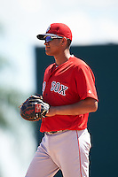 Boston Red Sox first baseman Pedro Castellanos (12) during an Instructional League game against the Baltimore Orioles on September 22, 2016 at the Ed Smith Stadium in Sarasota, Florida.  (Mike Janes/Four Seam Images)