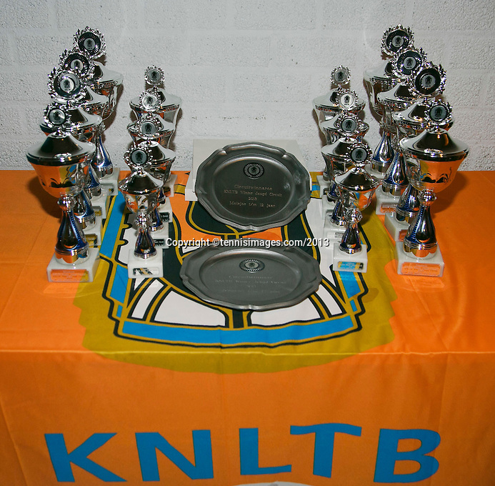 01-12-13,Netherlands, Almere,  National Tennis Center, Tennis, Winter Youth Circuit, Trophy table <br /> Photo: Henk Koster