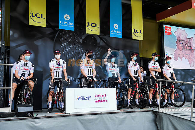 Team Sunweb at the Team Presentation before the start of Stage 1 of Criterium du Dauphine 2020, running 218.5km from Clermont-Ferrand to Saint-Christo-en-Jarez, France. 12th August 2020.<br /> Picture: ASO/Alex Broadway | Cyclefile<br /> All photos usage must carry mandatory copyright credit (© Cyclefile | ASO/Alex Broadway)