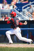 Batavia Muckdogs shortstop Samuel Castro (25) at bat during a game against the Auburn Doubledays on September 5, 2016 at Dwyer Stadium in Batavia, New York.  Batavia defeated Auburn 4-3. (Mike Janes/Four Seam Images)