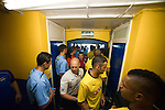 St Albans 0 Watford 5, 26/07/2014. Clarence Park, Pre Season Friendly. Pre Season friendly between St Albans City and Watford from Clarence Park Stadium. Players gather in the cramped tunnel area before kick off. Watford won the game 5-0. Photo by Simon Gill.