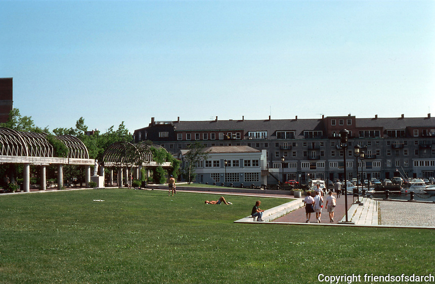 Boston:  Christopher Columbus Waterfront Park--between long wharf (south) and commercial wharf (north).  Photo '88.