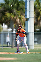Baltimore Orioles first baseman Aderlin Rodriguez (60) waits to receive a throw during a minor league Spring Training game against the Boston Red Sox on March 16, 2017 at the Buck O'Neil Baseball Complex in Sarasota, Florida.  (Mike Janes/Four Seam Images)