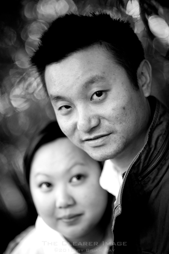 Engagement portraits of Grace Ting and Mo Taing photographed at Zilker Botanical Gardens in Austin, TX.