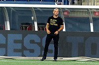 FOXBOROUGH, MA - AUGUST 29: New York Red Bulls coach Chris Armas surveys the situation during a game between New York Red Bulls and New England Revolution at Gillette Stadium on August 29, 2020 in Foxborough, Massachusetts.