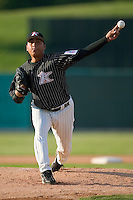 Kannapolis starting pitcher Carlos Perez (35) fires the ball to the plate versus Columbus at Fieldcrest Cannon Stadium in Kannapolis, NC, Saturday, July 21, 2007.  The Intimidators defeated the Catfish 4-1.