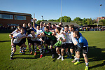 Visiting players celebrating with their trophy after Warrington Town defeated King's Lynn Town in the Northern Premier League premier division super play-off final tie at Cantilever Park, Warrington. The one-off match was between the winners of play-off matches in the Northern Premier League and the Southern League Premier Division Central to determine who would be promoted to the National League North. The visitors from Norfolk won 3-2 after extra-time, watched by a near-capacity crowd of 2,200.