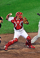 27 September 2010: Washington Nationals' catcher Wilson Ramos in action against the Philadelphia Phillies at Nationals Park in Washington, DC. With an 8-0 shutout win, the Philles become the National League Eastern Division Champions. Mandatory Credit: Ed Wolfstein Photo