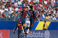 Nashville, TN - Saturday July 08, 2017: Matt Besler and Kellyn Acosta during a 2017 Gold Cup match between the men's national teams of the United States (USA) and Panama (PAN) at Nissan Stadium.