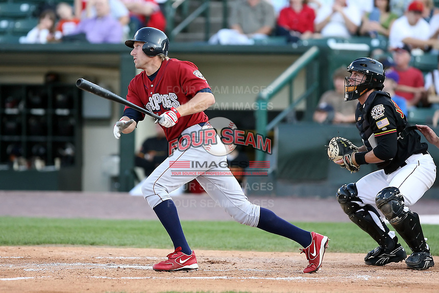 July 1st 2008:  Outfielder T.J. Bohn of the Lehigh Valley IronPigs, Class-AAA affiliate of the Philadelphia Phillies, during a game at Frontier Field in Rochester, NY.  Photo by:  Mike Janes/Four Seam Images