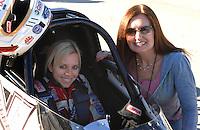"Jan 20, 2007; Las Vegas, NV, USA; NHRA Super Comp driver Brittany Force with mother Lauri Force during preseason testing at ""The Strip"" at Las Vegas Motor Speedway in Las Vegas, NV. Mandatory Credit: Mark J. Rebilas"
