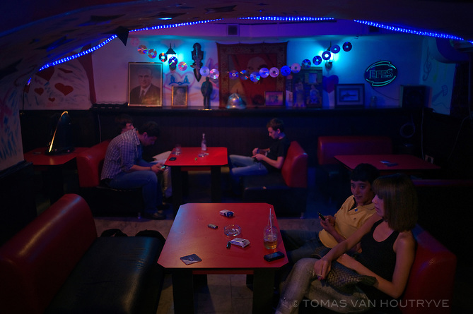 Customers are seen inside the Back in the USSR bar in Baku, Azerbaijan.