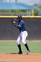 San Diego Padres shortstop Jordy Barley (15) prepares to make a throw to first base during an Instructional League game against the Texas Rangers on September 20, 2017 at Peoria Sports Complex in Peoria, Arizona. (Zachary Lucy/Four Seam Images)