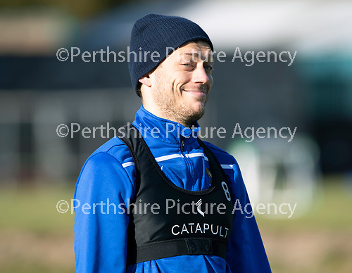 St Johnstone Training…29.10.19<br />Murray Davidson pictured messing around for the camera during training this morning at McDiarmid Park ahead of tomorrow's game against Hearts.<br />Picture by Graeme Hart.<br />Copyright Perthshire Picture Agency<br />Tel: 01738 623350  Mobile: 07990 594431