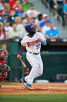 Buffalo Bisons center fielder Roemon Fields (37) bats during a game against the Syracuse Chiefs on July 3, 2017 at Coca-Cola Field in Buffalo, New York.  Buffalo defeated Syracuse 6-2.  (Mike Janes/Four Seam Images)