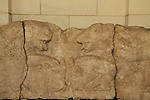 A limestone lintel decorated with lions and bulls, Arbel Synagogue in the Galilee, on display at the Rockefeller Museum
