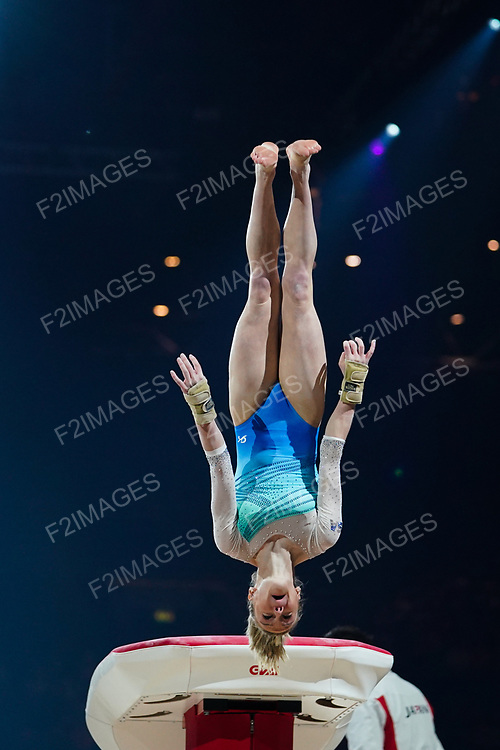 Gymnastics World Cup  23.3.19. World Resorts Arena. Birmingham UK.  Riley McCusker (USA)<br />  in action