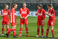 Aster Janssens (5) of Standard pictured before a female soccer game between  AA Gent Ladies and Standard Femina de Liege on the first matchday of play-off 1 of the  2020 - 2021 season of Belgian Scooore Womens Super League , saturday 3 th of April 2021  in Oostakker , Belgium . PHOTO SPORTPIX.BE | SPP | STIJN AUDOOREN