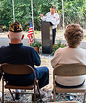 WATERTOWN CT 072427JS06   Bob Wills, Chairman of the Watertown Veterans Council, speaks to guests during a dedication fo the Korean War Veterans Bridge along the Steel Brook Greenway in Watertown on Tuesday. <br /> Jim Shannon Republican American