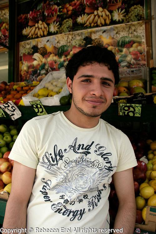 Turkish grocer on Green Lanes in Haringey, London, UK