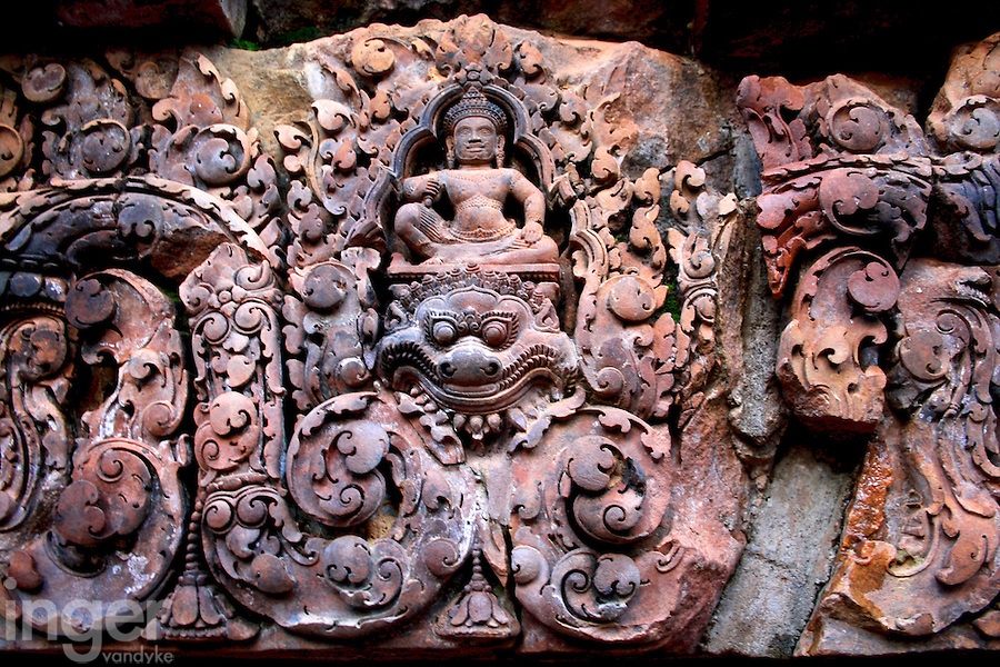 The intricate and spectacular carved lintels of Banteay Srei in Cambodia
