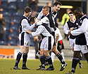 19/03/2005         Copyright Pic : James Stewart.File Name : jspa13_raith_v_falkirk.PAUL MCMULLAN (3) IS CONGRATULATED AFTER SCORING FOR RAITH FROM A FREE KICK....Payments to :.James Stewart Photo Agency 19 Carronlea Drive, Falkirk. FK2 8DN      Vat Reg No. 607 6932 25.Office     : +44 (0)1324 570906     .Mobile   : +44 (0)7721 416997.Fax         : +44 (0)1324 570906.E-mail  :  jim@jspa.co.uk.If you require further information then contact Jim Stewart on any of the numbers above.........A