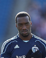 Sporting Kansas City midfielder C.J. Sapong (17).  In a Major League Soccer (MLS) match, Sporting Kansas City (blue) tied the New England Revolution (white), 0-0, at Gillette Stadium on March 23, 2013.