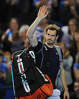 Andy Murray (GB), MARCH 05, 2016 - Tennis : Andy Murray (GB) thanks the fans after winning the Davis Cup by PNB Paribas , World Group first round doubles match between Great Britain and Japan at The Barclaycard Arena, Birmingham, United Kingdom. (Photo by Rob Munro/AFLO)