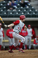Adam Lind of the South Alabama Jaguars bats during a game against the Southern California Trojans at Dedeaux Field on February 1, 2003 in Los Angeles, California. (Larry Goren/Four Seam Images)