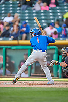 Elliot Soto (1) of the Iowa Cubs bats against the Salt Lake Bees in Pacific Coast League action at Smith's Ballpark on May 13, 2017 in Salt Lake City, Utah. Salt Lake defeated Iowa  5-4. (Stephen Smith/Four Seam Images)