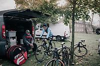 warming up pré-race<br /> <br /> U23 race<br /> <br /> UCI cyclocross World Cup Koksijde / Belgium 2017
