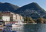 Switzerland, Ticino, Lugano at Lago Lugano, at background Castagnola and Monte Bre   Schweiz, Tessin, Lugano am Luganer See, im Hintergrund klebt Castagnola am Monte Bre