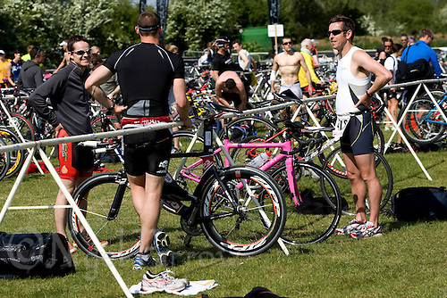 10 MAY 2009 - GRENDON,GBR - Competitors talk in transition after the finish of the race - Grendon Triathlon .(PHOTO (C) NIGEL FARROW)