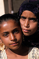 Nakhr, Wadi Ghul, Jebal Akhdar, Oman, Arabian Peninsula, Middle East - Omani Girls.