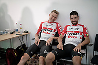 Tim Wellens (BEL/Lotto-Soudal) & Thomas de Gendt (BEL/Lotto-Soudal) waiting backstage at the Official 106th Tour de France 2019 Teams Presentation at the Central Square (Grote Markt) in Brussels (Belgium)<br /> <br /> ©kramon